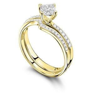 18ct Yellow Gold Princess Cut Diamond Bridal Set Engagement Rings