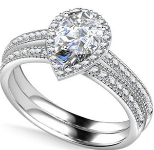 Pear Bridal Set Diamond Engagement Rings