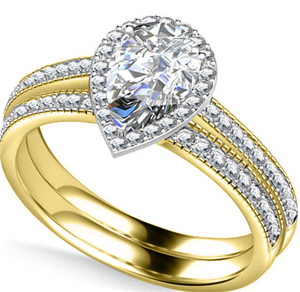 18ct Yellow Gold Pear Cut Diamond Bridal Set Engagement Rings