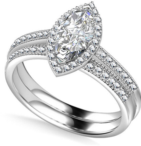 Marquise Bridal Set Diamond Engagement Rings