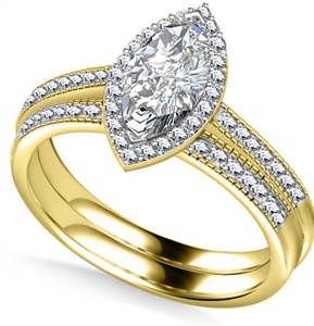 18ct Yellow Gold Marquise Diamond Engagement Rings