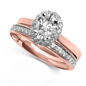 18ct Rose Gold Oval Diamond  Engagement Rings