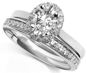 Palladium Oval Cut Diamond Bridal Set Engagement Rings
