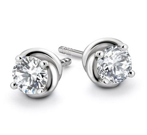 Image for Love Knot Round Diamond Stud Earrings