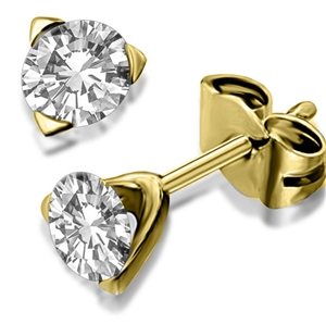 Image for Unique Three Prong Round Diamond Stud Earrings