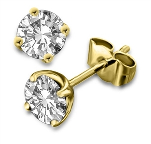 18ct Yellow Gold Round Diamond Studs