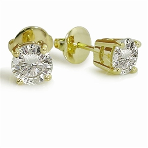 9ct Yellow Gold Round Diamond Studs