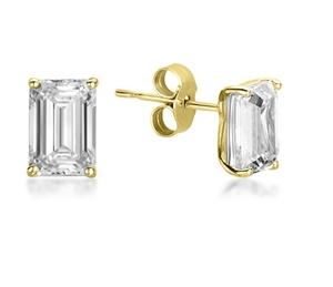 18ct Yellow Gold Emerald Cut Diamond Studs