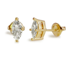 18ct Yellow Gold Marquise Diamond Studs