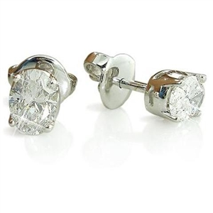 18ct White Gold Oval Cut Diamond Studs