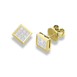 18ct Yellow Gold Princess Cut Diamond Cluster Earrings