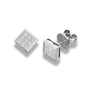 18ct White Gold Princess Cut Diamond Cluster Earrings