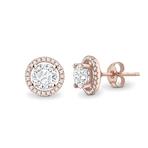 18ct Rose Gold Halo Round Diamond Earrings