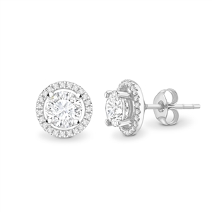 Platinum Halo Round Diamond Earrings