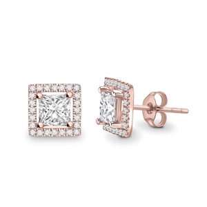 18ct Rose Gold Halo Princess Cut Diamond Earrings