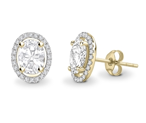 18ct Yellow Gold Halo Oval Diamond Earrings