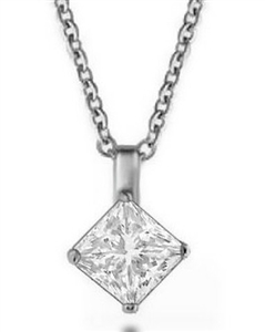 Image for Modern Princess Diamond Solitaire Pendant