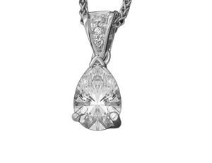 Image for Classic Pear & Round Diamond Solitaire Pendant