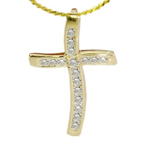 9ct Yellow Gold Cross Diamond Pendants