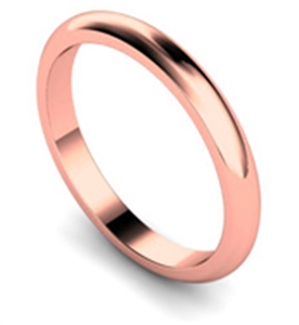 Women's 18ct Rose Gold D Shape Classic Wedding Rings