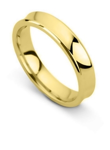 Women's 18ct Yellow Gold Concave Classic Wedding Rings