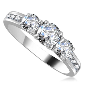 Image for 3 Round Stone Diamond Ring with Shoulder Diamonds