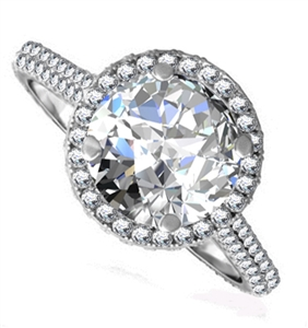 Image for Round Diamond Single Halo Shoulder Set Ring