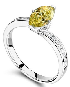 Image for Fancy Yellow Marquise Diamond Shoulder Set Ring