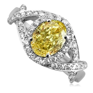 Image for Fancy Yellow Oval Diamond Halo Designer Ring