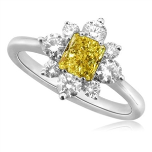 Image for Fancy Yellow Radiant Diamond Cluster Ring