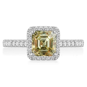 Image for Fancy Yellow Asscher Cut Diamond Halo Shoulder Set Ring