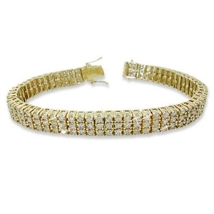 Buy 18ct Yellow Gold Three Row Tennis Bracelets