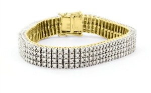 Buy 18ct Yellow Gold Four Row Tennis Bracelets