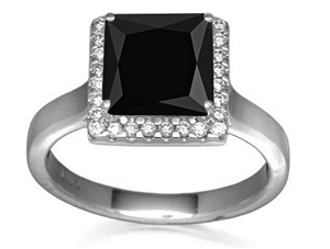 Image for Princess Black Diamond Halo Ring