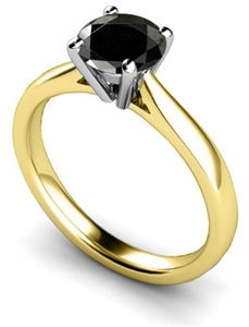 18ct Yellow Gold Solitaire Black Diamond Rings