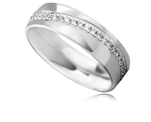 Men's Palladium Flat Diamond Wedding Rings