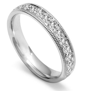 Image for Full Set 4mm Round Diamond Vintage Wedding Ring