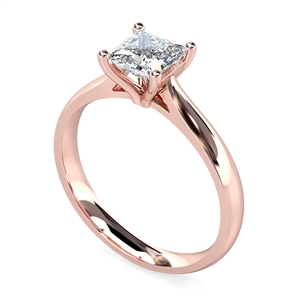 18ct Rose Gold Princess Cut Diamond Solitaire Engagement Rings