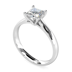 Palladium Gold Princess Cut Diamond Solitaire Engagement Rings