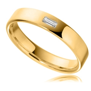 Women's 18ct Yellow Gold Designer Flat Court Classic Wedding Rings