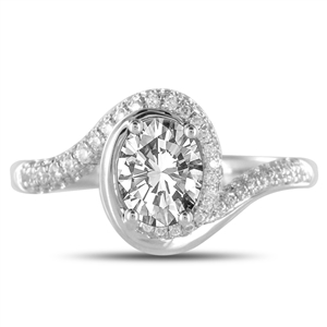 Image for Oval Diamond Spiral Shoulder Set Ring