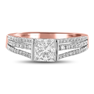 18ct Rose Gold Princess Cut Vintage Engagement Rings