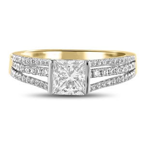 18ct Yellow Gold Princess Cut Vintage Engagement Rings