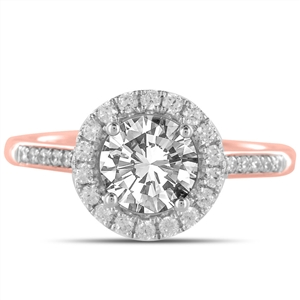 18ct Rose Gold Halo Engagement Rings