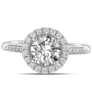 Platinum Round Diamond Halo Engagement Rings
