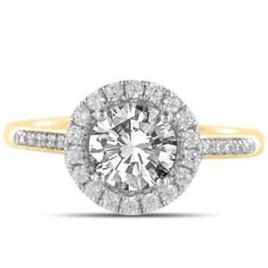 18ct Yellow Gold Round Diamond Halo Engagement Rings