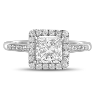 Palladium Princess Cut Halo Engagement Rings