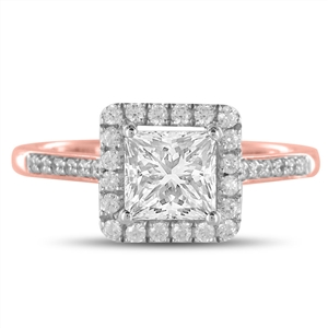 18ct Rose Gold Princess Cut Halo Engagement Rings