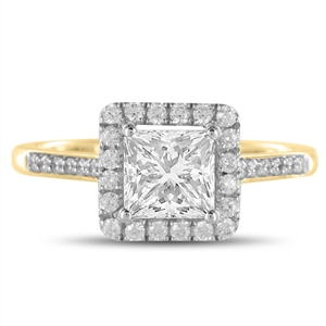 18ct Yellow Gold Princess Cut Halo Engagement Rings