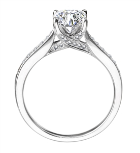 Palladium Princess Cut Shoulder Set Engagement Rings